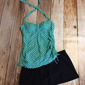 Womens tankini 2pc swimsuit halter top skirt 16 XL